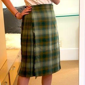 VINTAGE SCOTTISH Pure Wool Pleated Midi Skirt